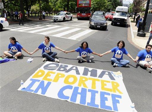 Protestors blocking traffic near the White House  (AP Photo/Susan Walsh, File)