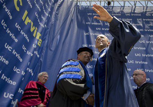 President Barack Obama after delivering commencement address at the University of California, Irvine. (AP Photo/Bruce Cenata)