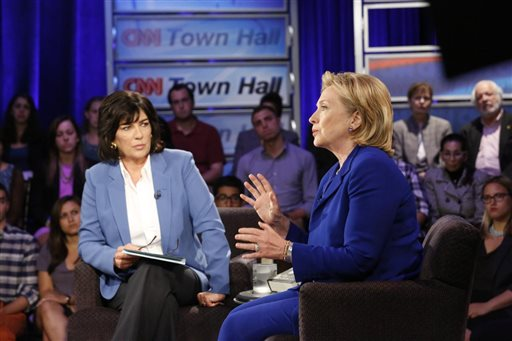 Hillary Rodham Clinton speaks during CNN's Town Hall interview.  (AP Photo/CNN)