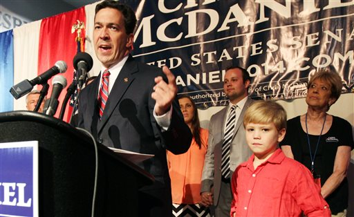 Chris McDaniel addresses his supporters after falling behind in a heated GOP primary runoff election (AP Photo/George Clark)