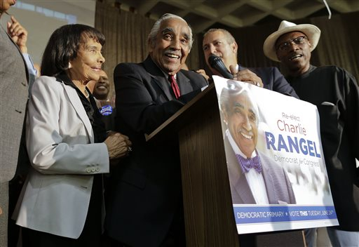 Accompanied by his wife Alma Rangel, left, Rep. Charlie Rangel D-NY, speaks at his primary election night gathering. (AP Photo/Julie Jacobson)