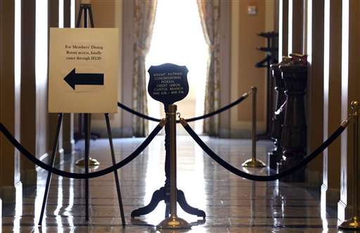 A hallway is closed on the House side on Capitol Hill in Washington, Thursday  (AP Photo/Lauren Victoria Burke)