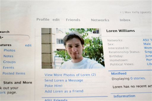 Printout of the Facebook page for Loren Williams, now deceased   (AP Photo/Lauren Gambino)