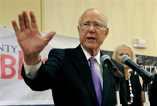 U.S. Sen. Pat Roberts makes his victory speech at a Johnson County Republican's election watch party   (AP Photo/Charlie Riedel)