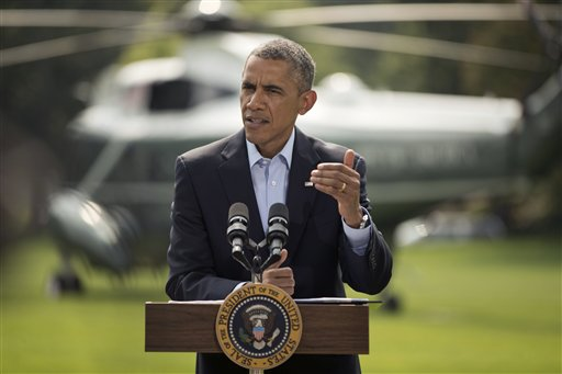 President Barack Obama speaks on the South Lawn  (AP Photo/Pablo Martinez Monsivais)