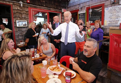 Vice President Joe Biden greets patrons at the Old Ferry Landing restaurant while making a stop for lunch  (AP Photo/Winslow Townson)