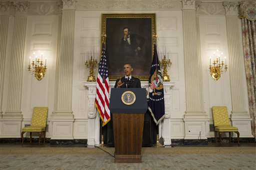 President Barack Obama in the State Dining Room of the White House  (AP Photo/Evan Vucci)