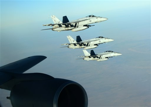 U.S. Navy F-18E Super Hornets leaves after receiving fuel from a KC-135 Stratotanker  (U.S. Air Force, Staff Sgt. Shawn Nickel)