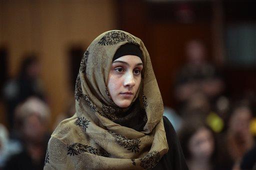 Ailina Tsarnaeva, sister of Boston Marathon bombing suspect Dzhokhar Tsarnaev, makes her appearance in Manhattan Criminal Court  (AP Photo/New York Post, Steven Hirsch)