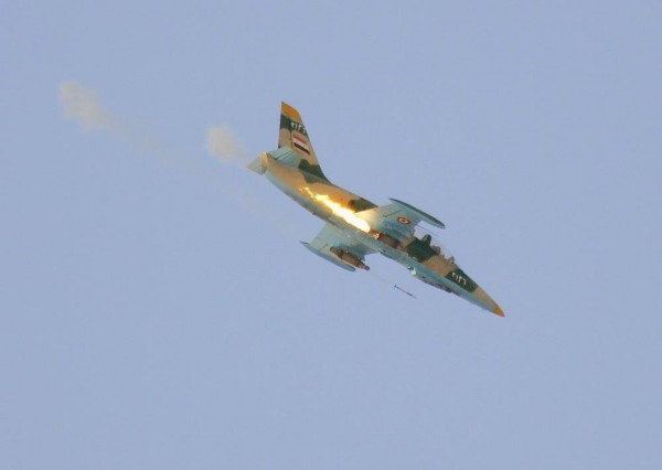 Syrian air force L-39 Albatros launches rockets near the Turkish-Syrian border (Syrian Air Force photo