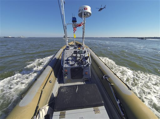 An unmanned seven meter rigid hulled inflatable boat as it operates autonomously during an Office of Naval Research demonstration  (U.S. Navy, John F. Williams)