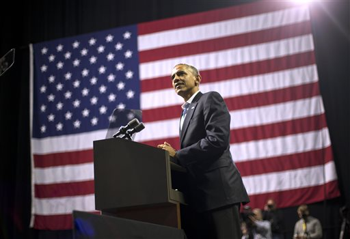 President Barack Obama speaks during a campaign event for gubernatorial candidate Tom Wolf at Temple University in Philadelphia, Pa., Sunday  (AP Photo/Pablo Martinez Monsivais)
