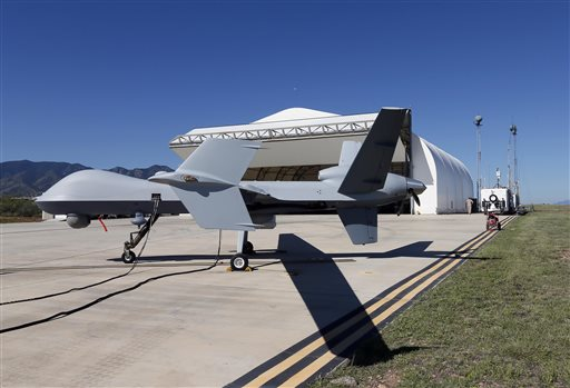 A U.S. Customs and Border Patrol drone aircraft is prepped prior to it's flight  (AP Photo/Matt York)