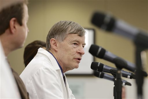 Dr. Phil Smith, medical director of the Nebraska Biocontainment Care Unit, answers a question during a news conference in Omaha, Neb.  (AP Photo/Nati Harnik)