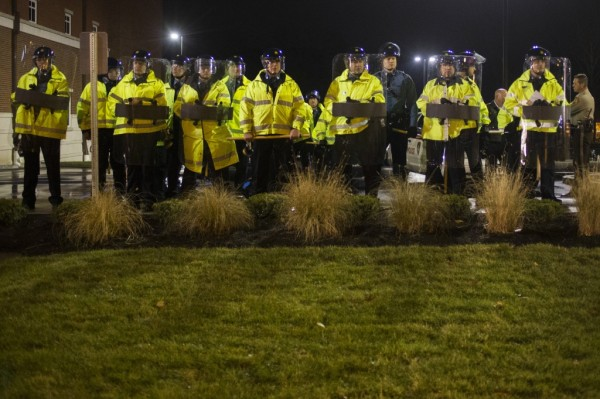 Missouri state troopers stand guard outside the Ferguson Police Station in Missouri (REUTERS/Adrees Latif)