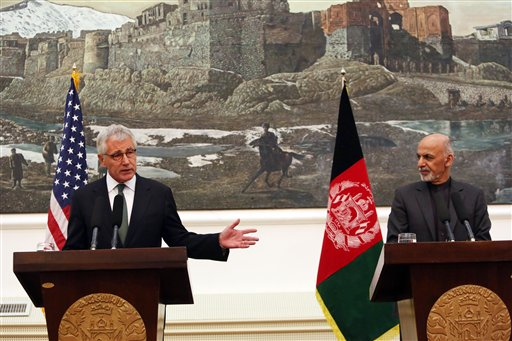 U.S. Secretary of Defense Chuck Hagel speaks during a joint news conference with Afghan President Ashraf Ghani in Kabul, Afghanistan, Saturday. (AP Photo/Rahmat Gul)