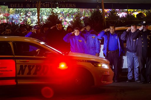 Mourners stand at attention as the bodies of two fallen NYPD police officers are transported from Woodhull Medical Center, Saturday  (AP Photo/John Minchillo)