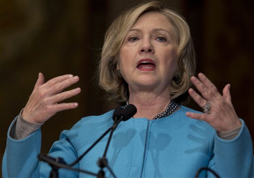 Former Secretary of State Hillary Rodham Clinton speaks at Georgetown University in Washington  (AP Photo/Carolyn Kaster)