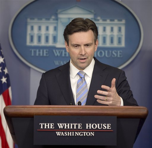 White House press secretary Josh Earnest speaks to the media during the daily briefing in the Brady Press Briefing Room of the White House (AP Photo/Pablo Martinez Monsivais)
