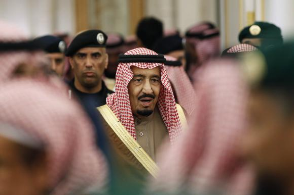 New Saudi King Salman attends a ceremony with world leaders.  (REUTERS/Yoan Valat/Pool)