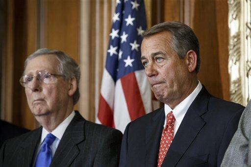 House Speaker John Boehner of Ohio, joined by Senate Majority Leader Mitch McConnell of Ky. on Capitol Hill. (AP Photo/J. Scott Applewhite)