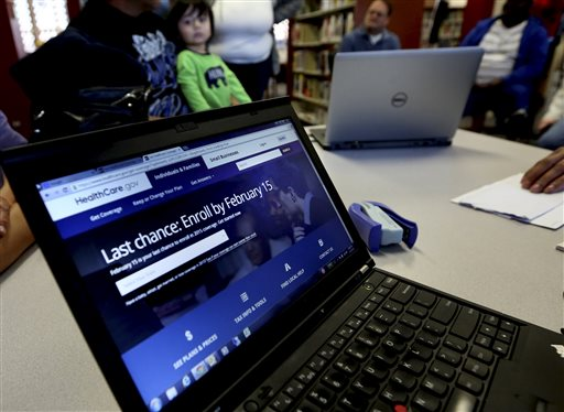The HealthCar.Com web site during an Affordable Care Act enrollment event at the Fort Worth Public Library in Fort Worth, Texas.  (AP Photo/LM Otero)