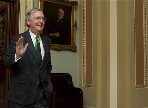 Senate Majority Leader Mitch McConnell, R-Ky., leaves the Senate floor on Capitol Hill. (AP Photo/Manuel Balce Ceneta)