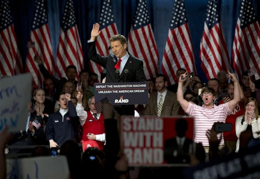 Sen. Rand Paul, R-Ky., announces the start of his presidential campaign as the audience cheers, Tuesday. (AP Photo/Carolyn Kaster)