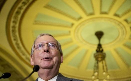 Senate Majority Leader Sen. Mitch McConnell of Ky. speaks to reporters on Capitol Hill in Washington.  (AP Photo/Manuel Balce Ceneta)
