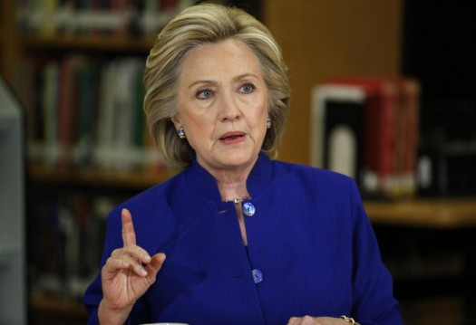 Democratic presidential candidate Hillary Rodham Clinton speaks on immigration at an event at Rancho High School Tuesday, May 5, 2015, in Las Vegas.  (AP Photo/John Locher)