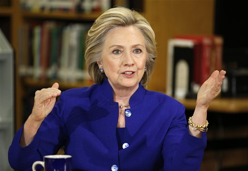 Democratic presidential candidate Hillary Rodham Clinton. (AP Photo/John Locher)