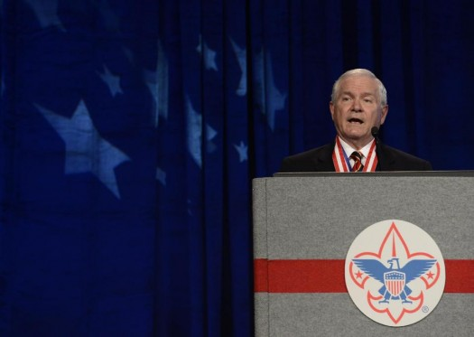 Former Defense Secretary Robert Gates addresses the Boy Scouts of America's annual meeting in Nashville, Tenn., after being selected as the organization's new president. (AP Photo/Mark Zaleski)