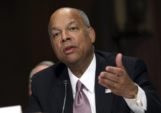 Homeland Security Secretary Jeh Johnson testifies on Capitol Hill in Washington.  (AP Photo/Lauren Victoria Burke)