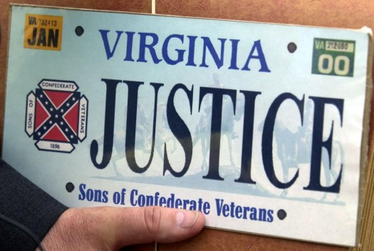 Sample of the Sons of Confederate Veterans specialty Virginia state license plate in Richmond, Va. (Mark Gormus/Richmond Times Dispatch via AP)