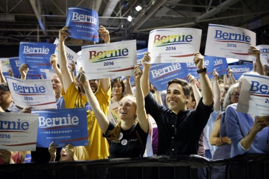 Supporters of Democratic presidential candidate Sen. Bernie Sanders, I-Vt., cheer at a campaign rally in Portland, Maine. (AP Photo/Robert F. Bukaty)