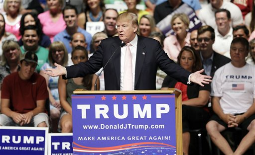 FILE - In this July 25, 2015, photo, Republican presidential candidate Donald Trump speaks at a rally and picnic in Oskaloosa, Iowa. The prospect that Trump might eventually leave the primaries and run for president on his own has started to cast a shadow on the race, reviving memories of Ross Perot, Ralph Nader and the chills their third-party campaigns gave to Republicans and Democrats in turn.  (AP Photo/Charlie Neibergall)