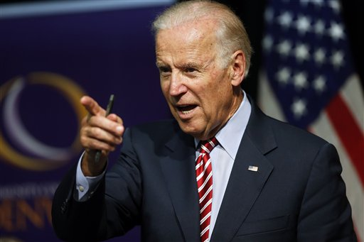 Vice President Joe Biden speaks during a roundtable discussion at the Advanced Manufacturing Center at Community College of Denver, Tuesday, July 21, 2015.  (AP Photo/Brennan Linsley)