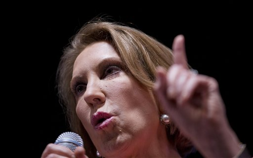 Republican presidential candidate Carly Fiorina speaks at the RedState Gathering, Friday, Aug. 7, 2015, in Atlanta. (AP Photo/David Goldman)