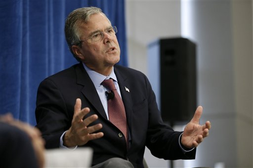 Republican presidential candidate, former Florida Gov. Jeb Bush, speaks during a forum sponsored by Americans for Peace, Prosperity and Security, Thursday, Aug. 13, 2015, at St. Ambrose University in Davenport, Iowa. (AP Photo/Charlie Neibergall)