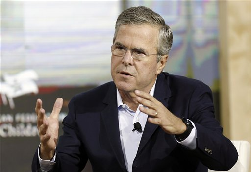 FILE - In this Aug. 19, 2015 file photo, Republican presidential candidate, former Florida Gov. Jeb Bush, speaks in Londonderry, N.H. Nearly six months out from the first votes of a presidential campaign, candidates should be fleshing out who they are and what they stand for. Instead, some of the best-known 2016 candidates are toting around heavy baggage that's proving to be a big distraction from the conversations they'd rather be having with the American people. (AP Photo/Jim Cole, File)