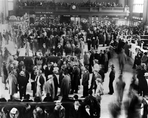 This 1932 photo from the Los Angeles Herald Examiner Collection of the Los Angeles Public Library shows hundreds of Mexicans at a Los Angeles train station awaiting deportation to Mexico. Republican presidential candidate Donald Trump's call for mass deportation of millions of immigrants living in the U.S. illegally, as well as their American-born children, bears similarities to a large-scale removal that actually happened to many Mexican-American families 85 years ago. During the Great Depression, counties and cities in the American Southwest and Midwest forced Mexican immigrants and their families to leave the U.S. over concerns they were taking jobs away from whites despite their legal right to stay. The traumatic impact of the experience on Latinos remains evident today, experts and advocates say.(Los Angeles Herald Examiner Collection/Los Angeles Public Library via AP)