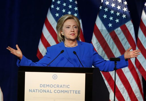 Democratic presidential candidate, Hillary Rodham Clinton. (AP Photo/Jim Mone)