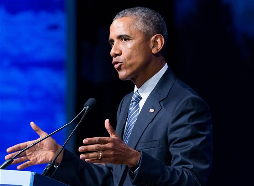 President Barack Obama speaks at the Global Leadership in the Arctic: Cooperation, Innovation, Engagement and Resilience (GLACIER) Conference at Dena'ina Civic and Convention Center in Anchorage, Alaska, Monday, Aug. 31, 2015. Obama opened a historic three-day trip to Alaska aimed at showing solidarity with a state often overlooked by Washington, while using its changing landscape as an urgent call to action on climate change. (AP Photo/Andrew Harnik)