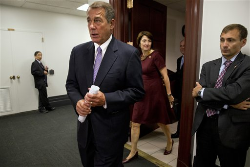 Speaker of the House John Boehner of Ohio, left, followed by Conference Chair Cathy McMorris Rodgers, R-Wash., walks into a news conference about the Iran deal after meeting with members of the House Republican leadership in Washington, Wednesday Sept. 9, 2015. (AP Photo/Jacquelyn Martin)
