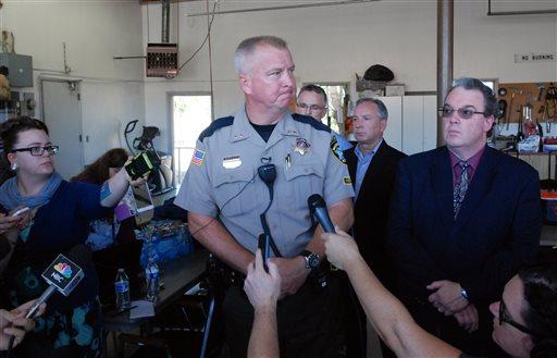 Douglas County Sheriff John Hanlin addresses the media following a deadly shooting at Umpqua Community College in Roseburg, Ore., Thursday, Oct. 1, 2015.   (AP Photo/Jeff Barnard)