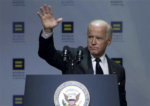 Vice President Joe Biden waves to the crowd after he speaks, during Human Rights Campaign National Dinner at Walter E. Washington Convention Center, in Washington, Saturday, Oct. 3, 2015. ( AP Photo/Jose Luis Magana)