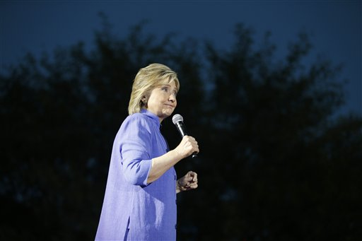 Democratic presidential candidate Hillary Rodham Clinton speaks at a rally Wednesday, Oct. 14, 2015, in Las Vegas. The stop was her last scheduled public event the day after the first Democratic debate. (AP Photo/John Locher)
