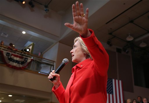 Democratic presidential candidate Hillary Rodham Clinton speaks during a town hall meeting, Friday, Oct. 16, 2015, in Keene, N.H. (AP Photo/Mary Schwalm)