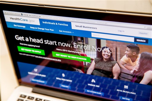 The HealthCare.gov website, where people can buy health insurance, is displayed on a laptop screen in Washington, Tuesday, Oct. 6, 2015. Premiums are expected to rise in many parts of the country as a new sign-up season under President Barack Obama's health care law starts Nov. 1. But consumers have options if they're willing to shop, and an upgraded government website will help them compare. (AP Photo/Andrew Harnik)