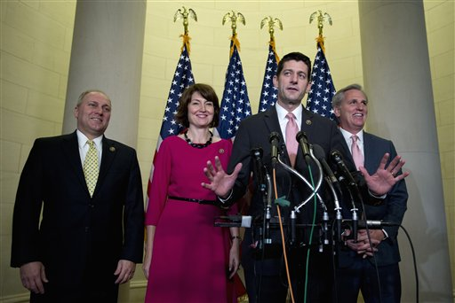 Rep. Paul Ryan, R-Wis., joined by, from left, House Majority Whip Steve Scalise of La.,, Rep. Cathy McMorris Rodgers, R-Wash., and House Majority Leader Kevin McCarthy of Calif., speaks to media on Capitol Hill in Washington, Wednesday, Oct. 28, 2015, after a Special GOP Leadership Election. Republicans in the House of Representatives have nominated Ryan to become the chamber's next speaker, hoping he can lead them out of weeks of disarray and point them toward accomplishments they can highlight in next year's elections. (AP Photo/Carolyn Kaster)